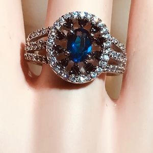 Beautiful Royal Blue and White Topaz Silver Ring